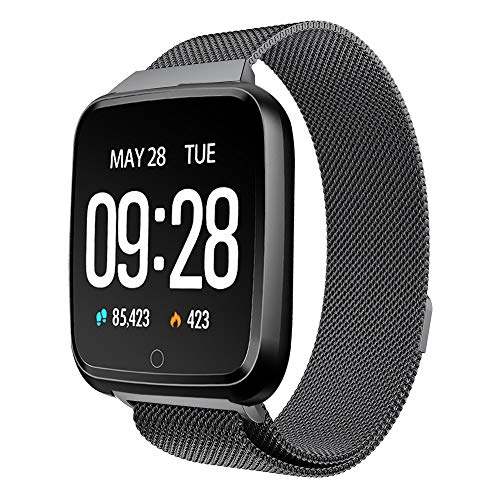BZLine Bluetooth Smartwatch, Smart Watch Uhr Intelligente Armbanduhr Fitness Tracker Armband Sport Uhr Metall mit Heartrate Blutdruck Tracker Wasserdicht IP67 für Kinder Frauen Männer (Schwarz)