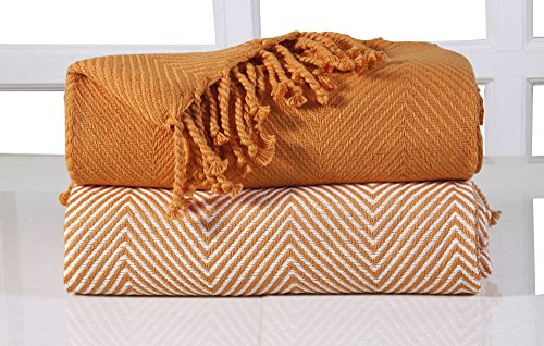 EHC Tagesdecke Chevron Baumwolle Single Sofa Überwurf Decke, 125x 150cm, orange, 2Stück