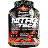 MuscleTech NitroTech Whey Protein Powder, Whey Isolate and Peptides, Cookies and Cream, 1.81kg