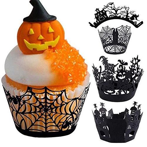 JYOHEY 12 Stück Cupcake Wrappers Halloween Cupcake Formen Papier Schwarz Für Kuchen Muffin Halloween Party Tisch Dekoration (Mini-cupcake-ideen Für Halloween)