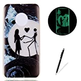 Moto G5 Plus Case Luminous Silicone Cover [with Free Black Touch Stylus] KaseHom Stylish Watercolor Pattern Design Noctilucent Green Effect Night Glow in The Dark Jelly Clear Rubber TPU Gel Skin Scratch Resistant Flexible Ultra Slim Fit Protective Case Bumper Shell for Moto G5 Plus - Beauty and Scarecrow