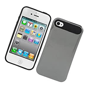 Eagle Cell Silicone with Laser Hard Chrome Case for iPhone 4/4S - Retail Packaging - Black