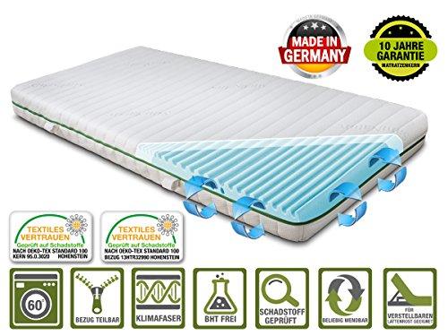 BMM Basis 7-Zonen Matratze 90x200 cm in Härtegrad H3 fest, Höhe 19cm, 2D Wellenschnitt, Bezug SaniNature, SchulterPLUS Zone, ÖKO-TEX® 140 - auch für Allergiker