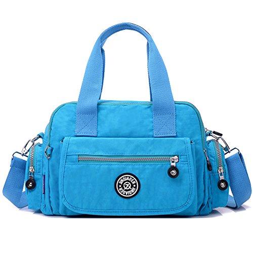 Outreo Handtasche Damen Umhängetasche Leichter Kuriertasche Mode Lässige Schultertasche Wasserdicht Taschen Designer Messenger Bag Reisetasche Blau 3