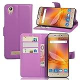 Qiaogle Téléphone Coque - PU Cuir rabat Wallet Housse Case pour ZTE Blade A452 (5.0...