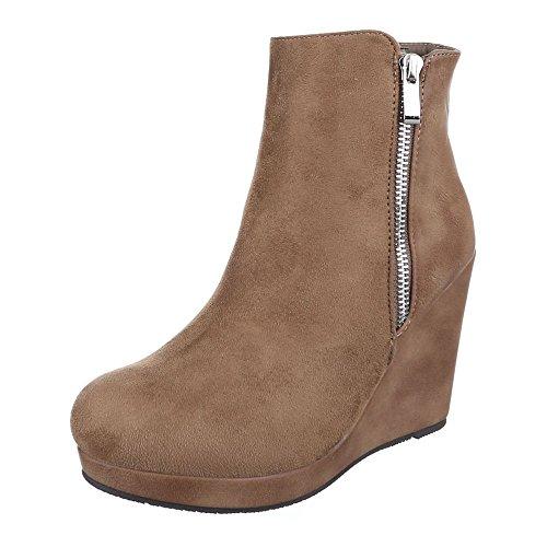 Ital-Design Keilstiefeletten Damen Schuhe Plateau Keilabsatz/Wedge Leicht Gefütterte Reißverschluss Stiefeletten Hellbraun, Gr 39, 0-128-