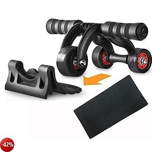 Yokamira Ab Roller 3 Ruote, Ruota per addominali AB Alta qualità, trainer per muscoli addominali per donne, per il fitness, l'aumento della massa muscolare e il dimagrimento su addome, gambe e glutei