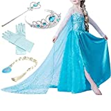 Zeeton Eiskönigin Prinzessin Kostüm Kinder Glanz Kleid Mädchen Weihnachten Verkleidung Karneval Party Halloween Fest mit Krone 110