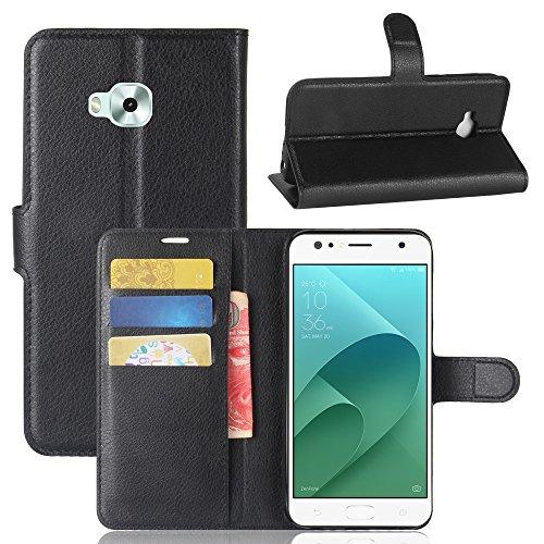 Weideworld Ledertasche Tasche für ASUS ZenFone 4 Selfie ZD553KL Komfortable Hülle mit Kartenfächern und Standfunktion+Stylus Touch Pen Schwarz