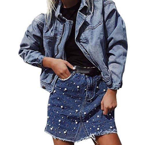 Gonna ningsun mini matita corto donna a vita alta aderente in denim aderente con jeans irregolare blu stile casual bodycon abbellimento della perla skirt (blu, m)