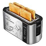 Toaster Holife 4 Scheiben Langschlitz Edelstahl Toaster mit 2 Langen Breiten Schlitzen 1500W, 6 Bräunungsstufen mit Brötchenaufsatz, Krümelschublade, Brotzentrierung, Silber/Schwarz