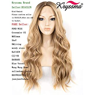 K'ryssma Ombre Blonde Wavy Lace Front Wigs Glueless Long Blonde Synthetic Wig Middle Parting Wavy Wig for Women Heat Resistant 22 inches