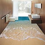 Benutzerdefinierte Bodenbelag Wandbild Tapete 3D Stereoskopischen Strandboden Aufkleber Pvc Wasserdicht Selbstklebende Rutschfeste Tapete Home Decor 140cm(L) X100cm(W)