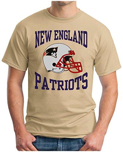 OM3® - New England Football - T-Shirt | Herren | American Football Shirt | M, Khaki