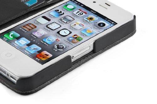iPhone 4 / 4s Lederhülle | JAMMYLIZARD Ledertasche [ Wallet Series ] Leder Hülle Flip Case Cover Schutzhülle mit Kartenfach, Lila SCHWARZ