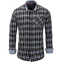 Los Hombres Camisas De Manga Larga Plaid Camisas Slim Fit Camisa Casual