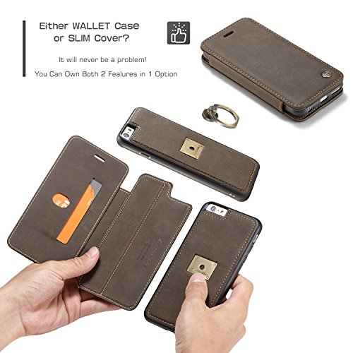 SDDMALL CaseMe Premium PU Leder Flip Wallet Case mit Kartensteckplatz, abnehmbarer Magnetischer Fingerring Für iPhone 6s Case, ( Color : Brown ) Coffe