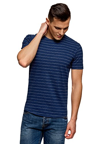 oodji Ultra Herren Baumwoll-T-Shirt Gestreift, Blau, M - Umfallen Shirt