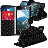 ( Carbon Fiber ) Blackberry DTEK50 Fall BookStyle Kunstleder Stand Schutzetui mit Credit / Debit Card Slot kommt auch mit Screen Protector Guard, Poliertuch exklusiv für Spyrox