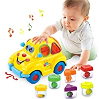 ACTRINIC Baby Toys 6-12 Months Musical Shape Sorting Bump & Go Action Bus Early Education Toy Musics/Animal Sounds/Lights/Animal Puzzles Baby Toys For 12 3 4 Year Old Boys Girls Toddlers Kids Toys