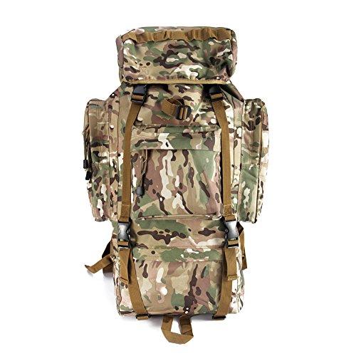 Imagen de yakeda®bolsos del alpinismo al aire libre tácticos hombros  bolsas de hombres y mujeres bolsa impermeable de gran capacidad de camuflaje  marco interno paquete 65l  a88018 cp