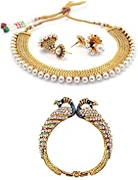 Zeneme Jhumki Pearl Necklace Set With Earring And Peacock Design Kada For Women