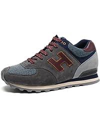 CHAMARIPA Zapatos Planos con Cordones Hombre, Color Negro (44 EU, Negro)