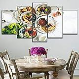 HOMOPK 5 Leinwandbild Bilder Dessert Shop Pfannkuchen frisches Obst 5 Teilig malerei hintergrundwand Kunst tapete Wohnkultur HD Druck Wohnzimmer küche dekor Plakat Geschenk Rahmen
