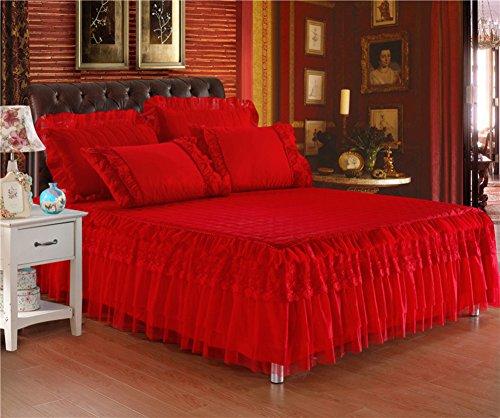 Rote Kinder-betten (hxxkact Spitzen Chiffon Bettvolant Tagesdecke,Bettrock tagesdecke rüschen Bettüberwurf,Schlafzimmer-Bett zu dekorieren Kinder-Rot 120x200cm(47x79inch))