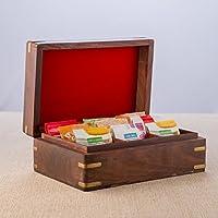 Rusticity Bois Sac thé / Boîte de rangement avec couvercle Spice et 9 poches | Handmade | (9x6 in)