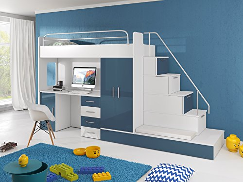 Furnistad Kinderzimmer Komplett Sun | Kinder Hochbett Mit Treppe,  Schreibtisch, Schrank Und Gästebett (Option Rechts, Weiß + Blau)