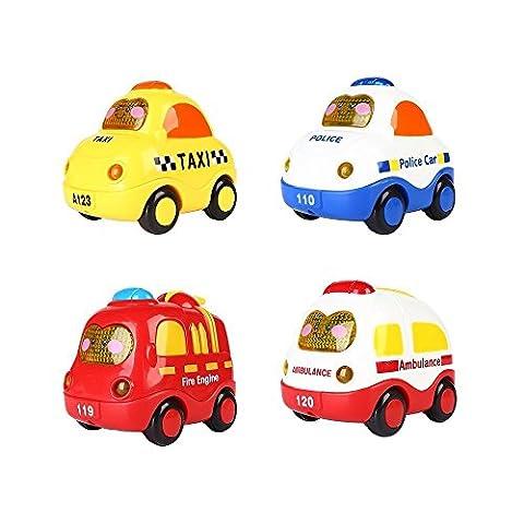 SainSmart Jr. 4 Set Push and Go Mini Car, Friction Powered, tasto dello schermo per la luce e musica, Macchina della polizia, camion Fuoco, Ambulanza, Taxi