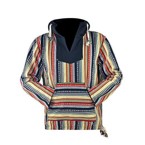 virblatt - Baja Hoodie Herren Pullover Ethno Jerga Mexican Goa Alternative Jacke - Utrecht CFL XL