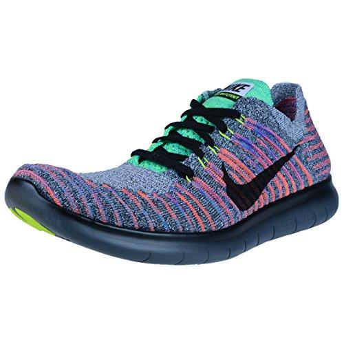 Nike Free RN Flyknit Scarpe da Corsa, Uomo Bianco/black-total crimson-blue LAGUNA