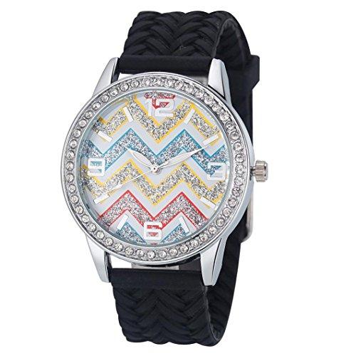 Vovotrade® Di lusso delle donne di modo Onde diamante silicone orologio da polso (Nero)