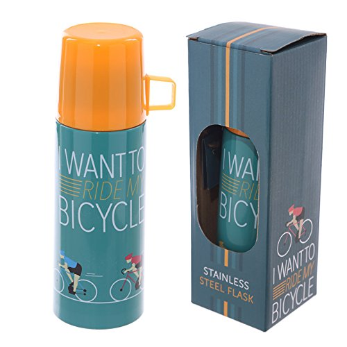 Adorabile e Funky 350ml Flask-Ciclismo Design I Want to Ride My bicicletta PDS