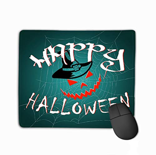 ong Shaped Mouse Mat 11.81 X 9.84 Inch Happy Halloween Title Logo Template original Design Element Template Apparel Card Label Poster Emblem Stamp ()