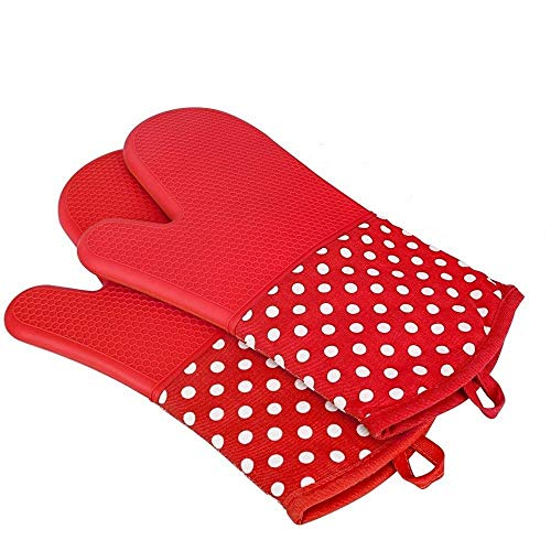 ORICH silicone resistente al calore guanti da forno, extra lungo presina guanti, rivestimento in cotone antiscivolo guanto per forno, barbecue, 1paio