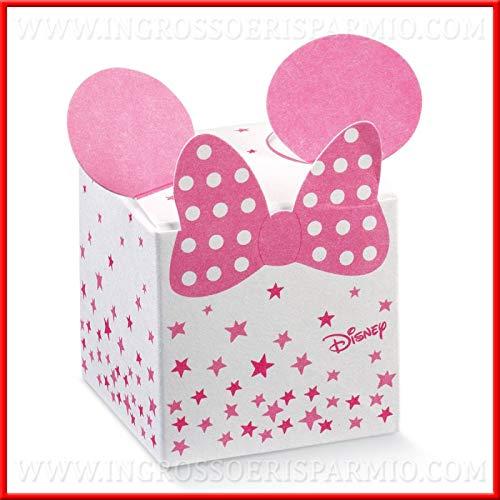 Ingrosso e risparmio 12 cubi a scatolina per confetti, firmate disney, con fiocco di minnie rosa e stelline, pensierini, bomboniere nascita, compleanno femminuccia (senza confezionamento)