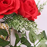 European Style Artificial Silk Rose Flower Home Wedding Wall Hanging Decor 7 Color - red, Full