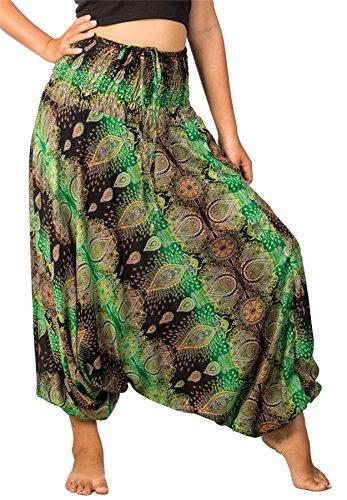 Lofbaz Mujeres Tailandés Cachemir Smocked Cintura Mono Pantalones Verde S