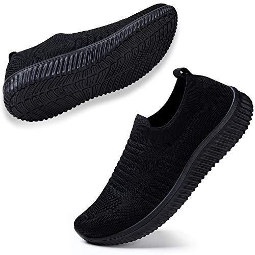 STQ Damen Mesh Slip On Sneakers Walking Outdoor Gym Bequem Leichte Atmungsaktiv Freizeitschuhe(All Schwarz41) -