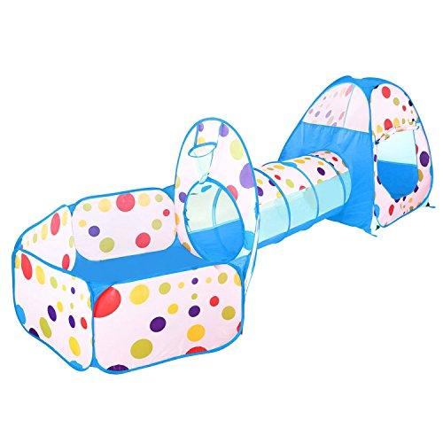 Indoor / Outdoor Spiel Tunnel und Spiel Zelt Ball Pool-Tube-Cubby Haus 3 In 1 Spielplatz für Kinder Baby Kinder Spielzelte (colour 2) Zelt Tube