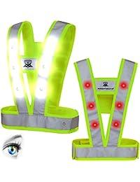 Protomax Chaleco de seguridad LED, Cavok, reflector, chaleco reflectante con 36ledes (Blanco delante | Rojo detrás)