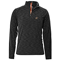 NHL Anaheim Ducks Men's Mobility Team Text Quarter Zip Pullover, XX-Large, Charcoal