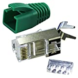 Ligawo VLS2 Netzwerk Stecker für Verlegekabel Cat.7 bis AWG22 (10 Stück) + Tüllen grün