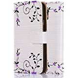 tinxi®Kunstleder Tasche für Samsung Galaxy S5 / S5 NEO Schutzhülle Flipcase Schale Cover Etui Skin Standfunktion mit Karten Slot lila Blume