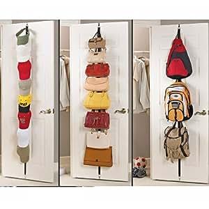 TinkSky Nouveauté réglable porte arrière crochet cintre chapeau sac Rack titulaire vêtements organisateur (noir)