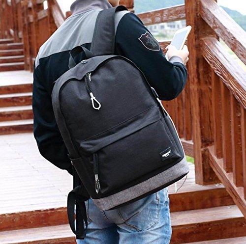 LQABW Zaino Da Trekking A Oxford Con Usb Ulti-function All'aperto Borsa Computer Student Student Travel 20L,Black Black