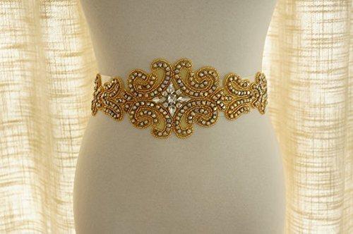 shinybeauty Gold Hochzeit Perlen Schärpe, Brautschmuck Strass Applikation ra039